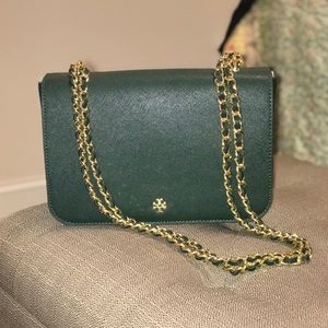 6295b110cecf Tory Burch Bags - Tory Burch Emerson adjustable bag in Jitney green